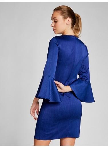 Vekem-Limited Edition Kolları Volanlı Mini Saten Elbise Saks